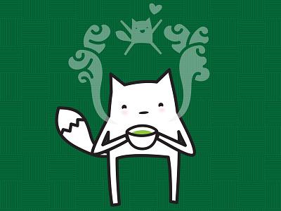Kenko the fox fox cute tea steam illustration