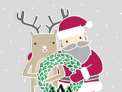 Happy Santa illustration christmas santa reindeer wreath snow cute