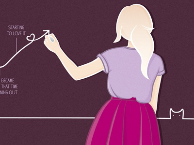 graphing girl graph illustration