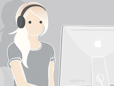 mouse clicker illustration girl pony tail imac headphones working