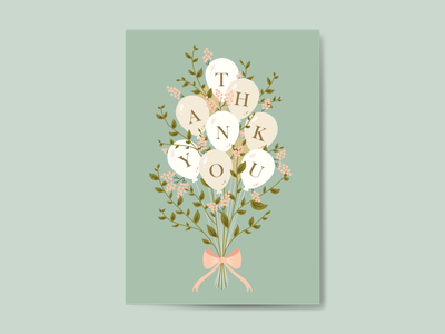 Thank You Card ballons bow card greeting card thanks thankyou green tea boquet flat floral vector digital illustration illustration
