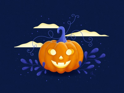 Happy Halloween cute scary holiday trick or treat pumpkin halloween vector digital illustration illustration