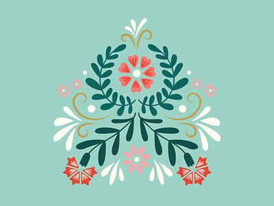 Floral Folk Pattern carnation botanical graphic design vector floral green flowers digital illustration illustration pattern folk womens day