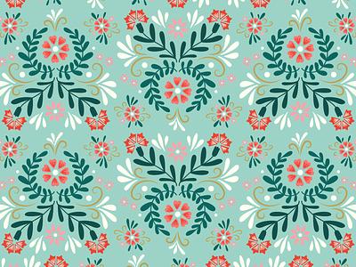 Floral Folk Pattern carnation green floral flowers botanical vector digital illustration graphic design illustration patterndesign pattern folkart folk