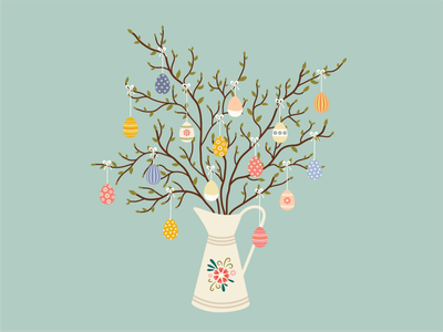 Happy Easter spring floral happy easter holiday decoration easter tree eggs flowers vector digital illustration illustration easter eggs easter