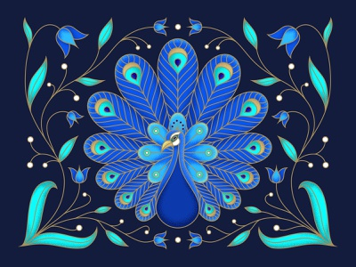 Peacock ornament outline neon colorful texture noise flat tulips animal bird character peacock floral vector digital illustration illustration