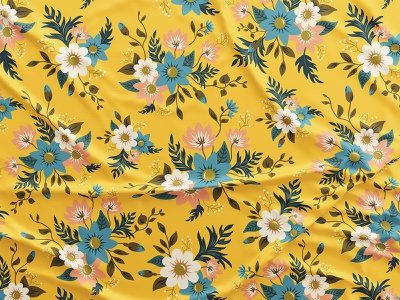 Floral Yellow Pattern mockup flat textile fabric blue yellow spring pattern vector botanical flowers floral digital illustration illustration