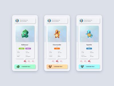 Starter selection ui selection pokemon neuomorphism skeuomorphism app adobe xd