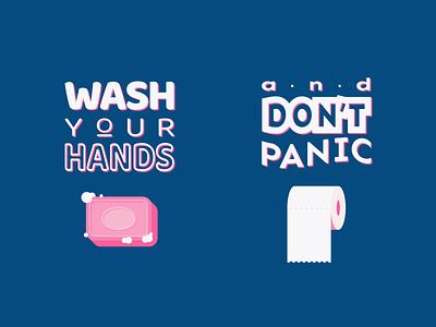 Wash your hands and don't panic toilet paper soap weeklywarmup adobe illustrator coronavirus dribbbleweeklywarmup