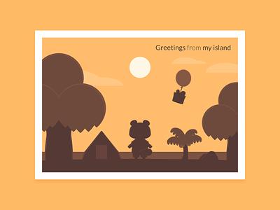 Animal Crossing Postcard illustrator weeklywarmup weekly warm-up postcard nook animal crossing vector illustration dribbbleweeklywarmup adobe illustrator