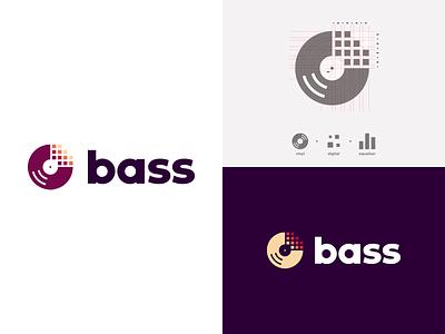 Bass streaming vinyl music dailylogochallenge vector branding logo design logo adobe illustrator