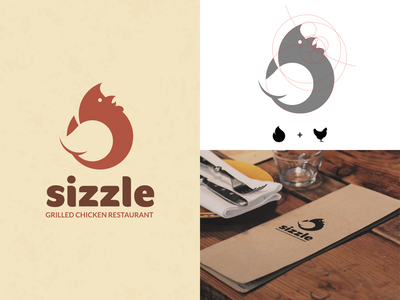 Sizzle restaurant chicken flame daily logo challenge dailylogochallenge vector branding logo design logo adobe illustrator