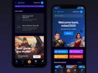 Mobile Casino app brand search games feed online website web slots dark game design gambling casino mobile interface ui ux