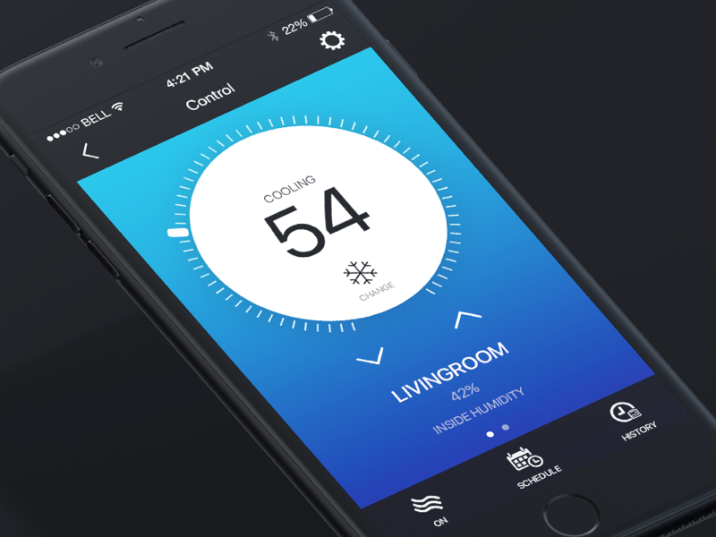Smart House temperature thermostat house smart mobile ios inspiration dribbble design control application app