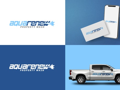 AquaRenew- Property Wash Company Logo Design branding design vector logodesign illustration designer logo design water gun speed gun aqua property wash logo