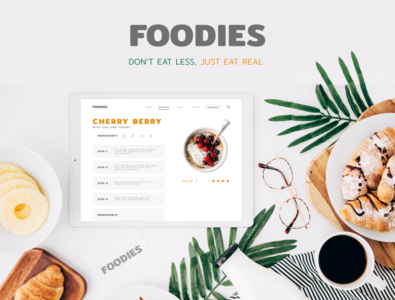 Foodies Web Design recipes app app food app recipes menu food ux ui designer inspiration design webdesign web