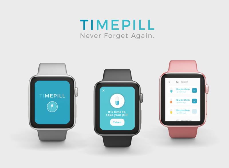 TimePill Apple Watch App adobexd xd inspiration designer design ux ui watch apple pill time app