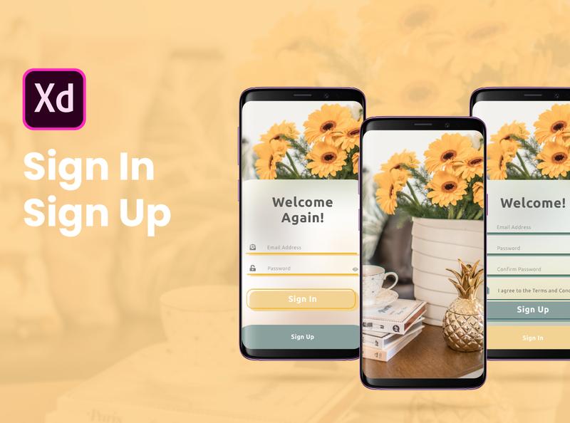 Sign In & Sign Up App adobe inspiration designer ux ui design app signin signup