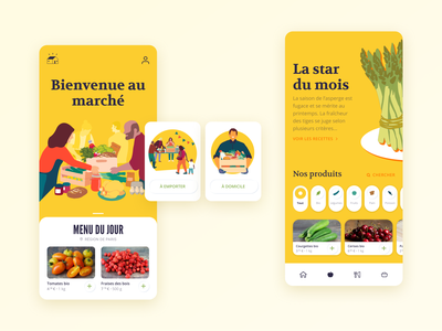 Producers market food and drink food app food mobile ui typography brand design ui product design illustration app design