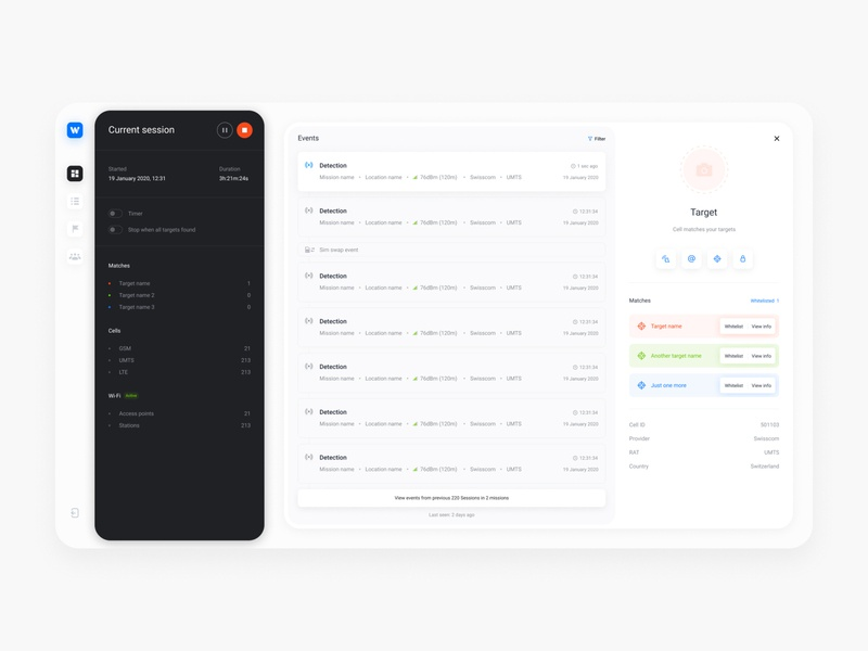 Phone Comms Security // Mission pages app web dashboard modals clean minimal interface ux ui