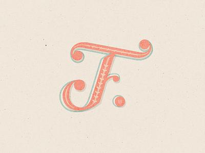 Press F to pay respect ornate coral monogram script lettering script custom lettering tampa designer vector illustration lettering typography