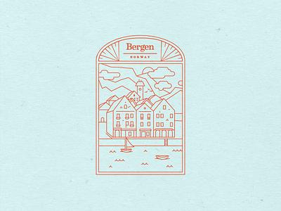 Bergen, Norway badges bergen waterfront town typography tampa designer vector destination arch monoweight illustration monoweight linework monoline minimal norway badge design badge