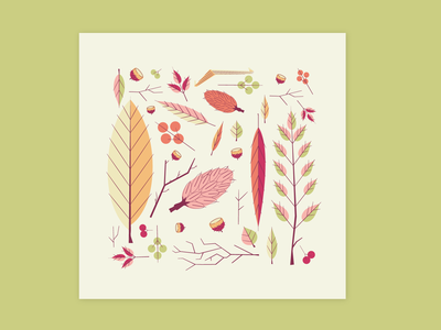 These mf'n leaves minimal nature pattern stylized color palette spring leaves linework illustration vector
