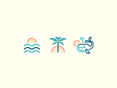 Thicc lines linework iconography ocean palmtree beach sunshine icon design icon balanced monoweight illustration monoweight thick lines vector illustration