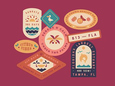 Florida Stickers ☀️ vector illustration colorful retro warm balanced minimal flat design vibes tropical typography patches badge design badge sticker design stickers sunshine florida