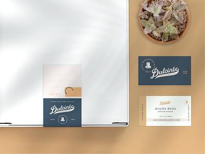 Dulcinee Delights Branding typography cake bakery vintage elegant script handlettering retro business card identity design brand design branding sticker packaging