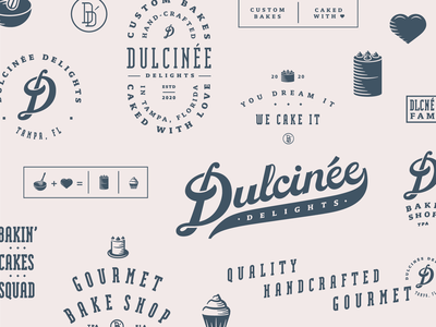 Dulcinee Delights Branding bakery cupcake custom lettering lettering badge logo vintage retro script logo script monogram icon design illustration cake badge design type lockup typography brand identity brand design branding