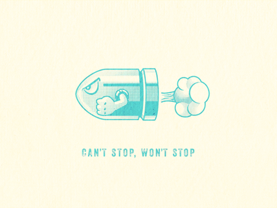 👊 Can't Stop, Won't Stop 👊 bullet bill illustrator video games tampa designer design nintendo comic art typography vector halftone illustration