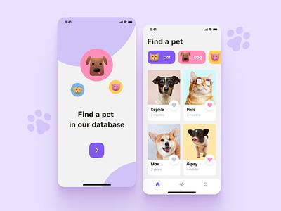 Pet adoption app design vector ui illustration mobile ios application app design