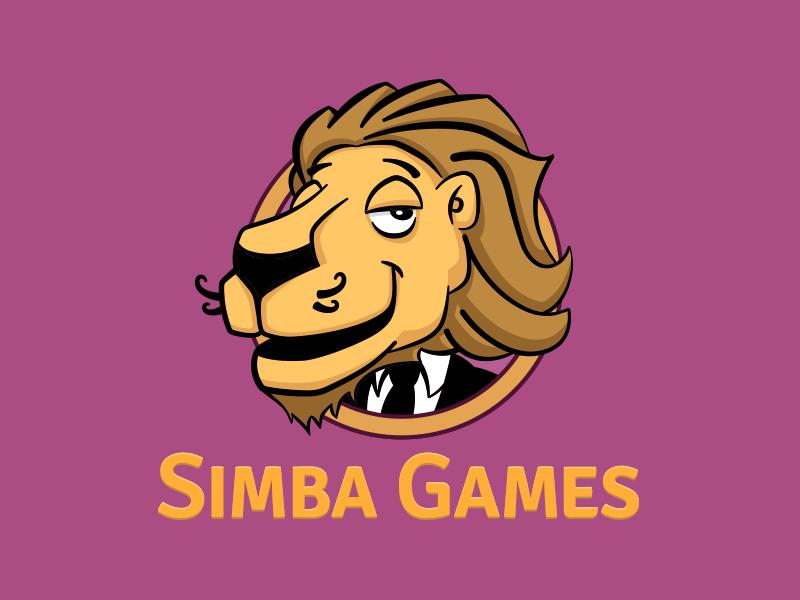 Simba Games Logo lion illustration typography graphic design branding brand logo