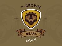 Brown Bears Animal Badge Logo Concept