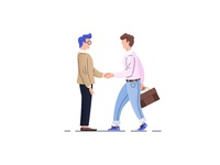 Men Shaking Hands Flat Illustration