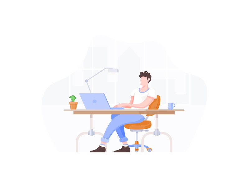 Man Working On Computer Flat Illustration behance dribbble adobe sketch icon vector computer working work job office illustrator illustration modern flat