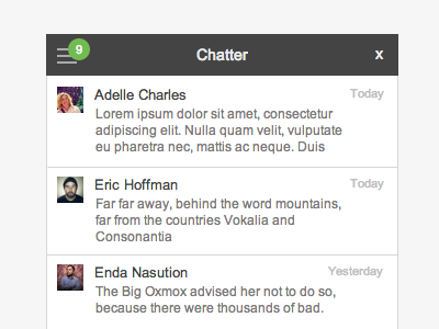 Chatter (WIP) user interface wireframe chat