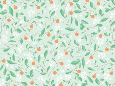 Orange Blossom Branches Pattern