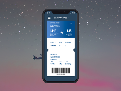 Daily UI #024 - Boarding Pass - Dark Theme