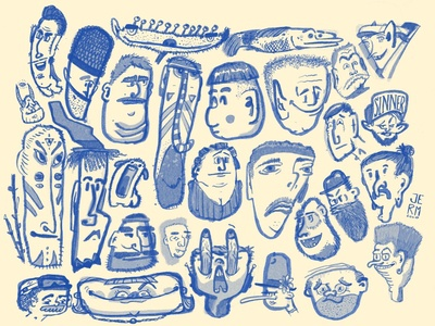 Head Sheet - 8/8/2020 faces cartooning cartoon heads illustration