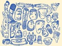 Head Sheet - 8/8/2020 faces cartooning cartoon heads illustration