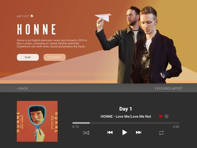 UI Challenge - Artist Landing Page visual design form fill landing page player ui music player player ui challenge ui music app music