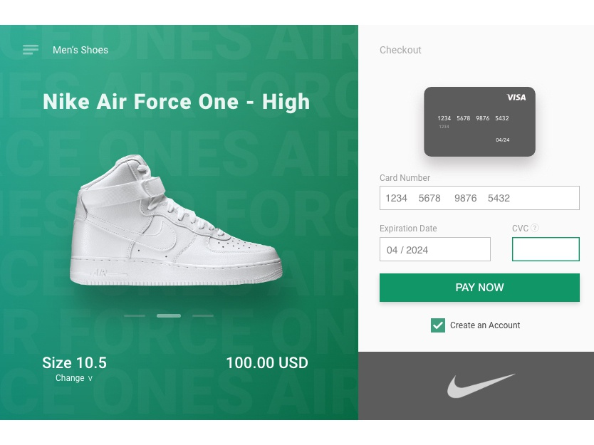UI Challenge #2 - Credit Card Checkout denver ux design daily 100 challenge new paying payment method payment shopping apparel nike typography formfill graphic design landing page ui ui challenge visual design