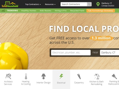 TotalHousehold Contractor Landing Page web design user interface