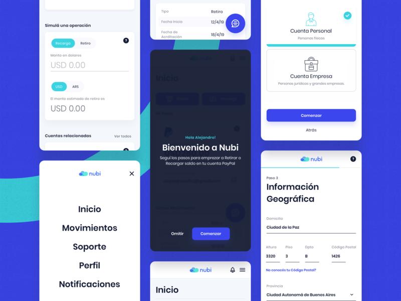 Nubi - Mobile Breakpoints web app mobile money bank indicius platform illustration design ui ux argentina fintech paypal nubi