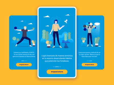 Brainpoints Mobile App - Onboarding mobile onboarding prototype illustration productivity wellness design sprint ui ux app argentina design indicius