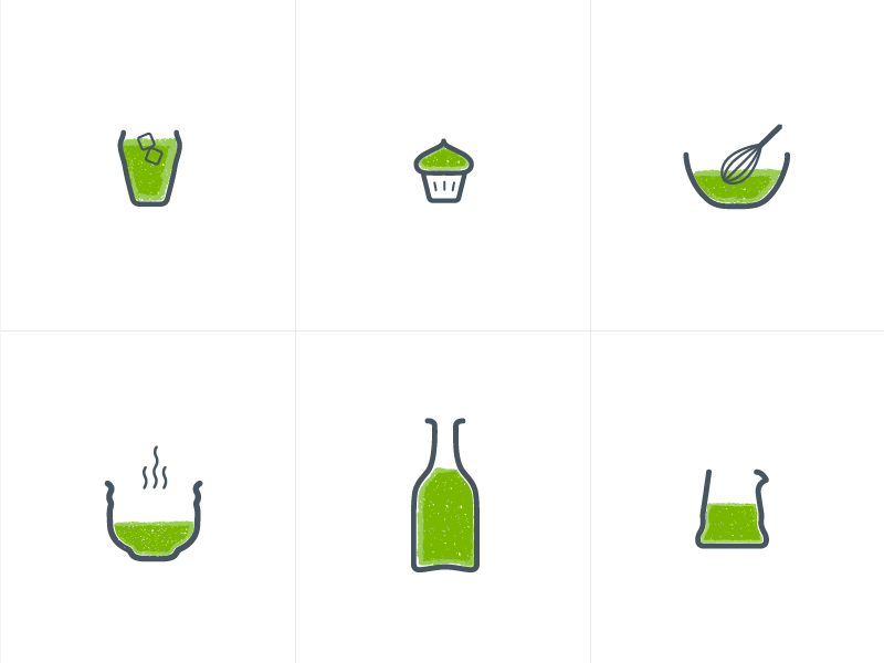 Icons handmade matcha green drink food icons