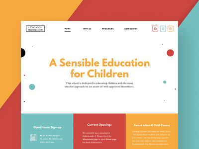 Home Page ux ui montessori illustration home page education dots colorful children chicago alternative