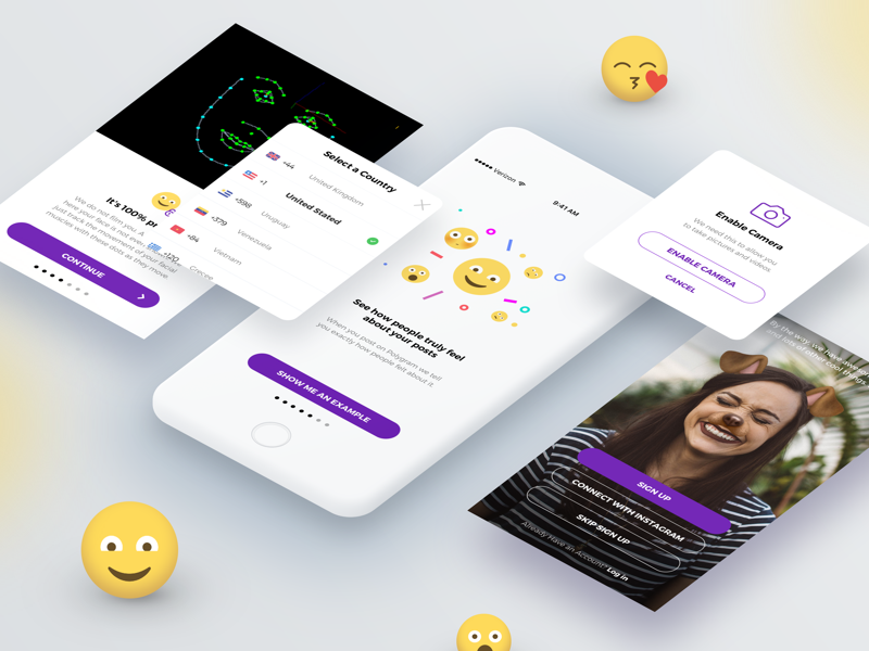 Onboarding ai artificial intelligence ui recording mobile mask iphone camera app onboarding